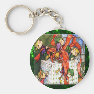 Merry Elves Wrapping Present Keychain