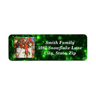 Merry Elves Wrapping Present Return Address Labels