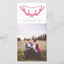 Merry Everything Antler Faux Glitter Photo Holiday Card