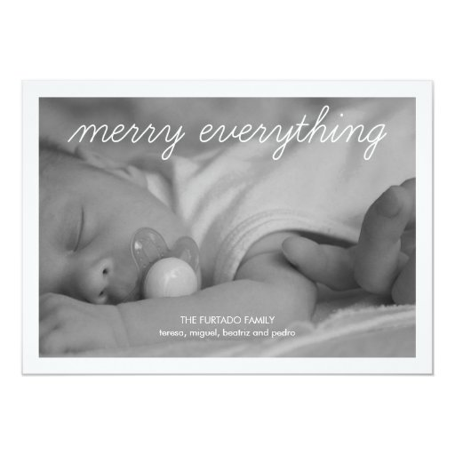 Merry Everything Baby Christmas Photo Holiday Flat 5x7 Paper Invitation Card