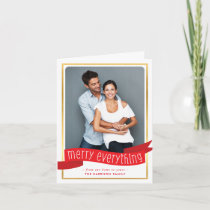 MERRY EVERYTHING BANNER CHRISTMAS PHOTO foliage Holiday Card