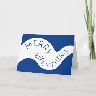 Merry Everything Blue Curved Typography Photo Holiday Card