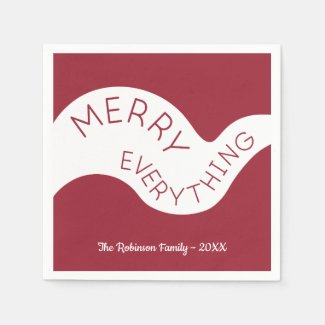 Merry Everything Burgundy Curve Holiday Party Napkin