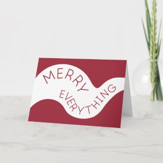 Merry Everything Burgundy Curved Typography Holiday Card