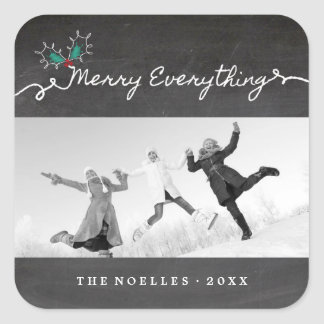 Merry Everything Chalkboard Holiday Photo Sticker