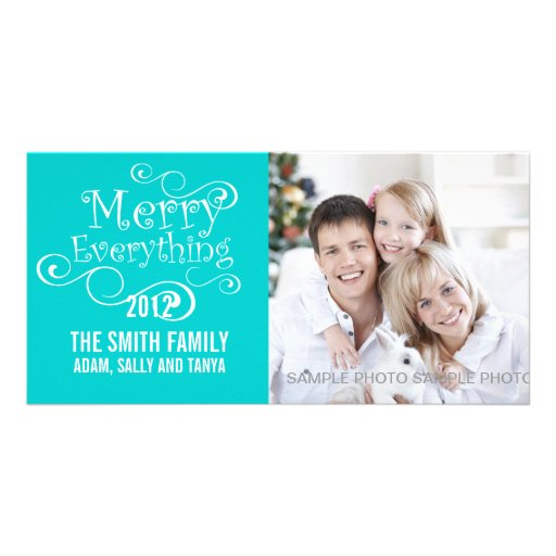 MERRY EVERYTHING CHRISTMAS PHOTO CARD BLUE