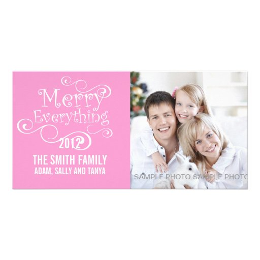 MERRY EVERYTHING CHRISTMAS PHOTO CARD PINK