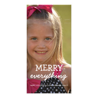 Merry Everything Christmas Photo Holiday Greetings Custom Photo Card