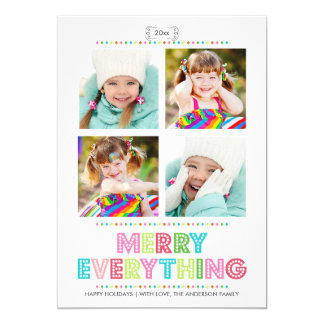 """Merry Everything Collage Photo Holidays Card 5"""" X 7"""" Invitation Card"""