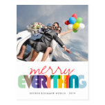 Merry Everything Colorful Holiday Photo Greetings Postcard