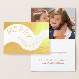 Merry Everything Curved Text Photo Holiday Gold Foil Card