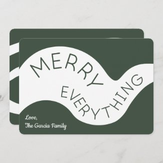 Merry Everything Green Typography Abstract Curves Holiday Card
