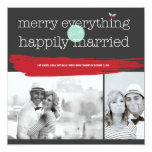 Merry Everything Happily Married Holiday Greetings Custom Announcements