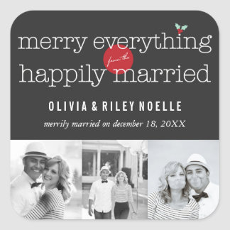 Merry Everything Happily Married Holiday Sticker