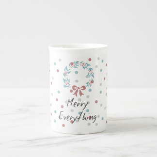 Merry Everything Holiday dotted Cup Porcelain Mug
