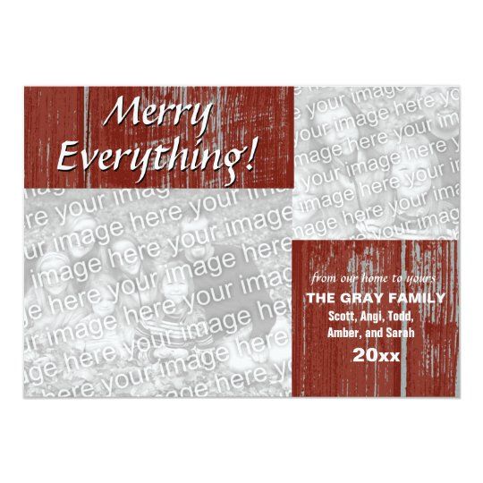 Merry Everything Holiday Greeting Rustic 2 Photos Card