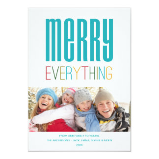 """MERRY EVERYTHING   HOLIDAY PHOTO CARD 5"""" X 7"""" INVITATION CARD"""
