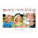 Merry Everything Holiday Photo Card Postcard Postcards