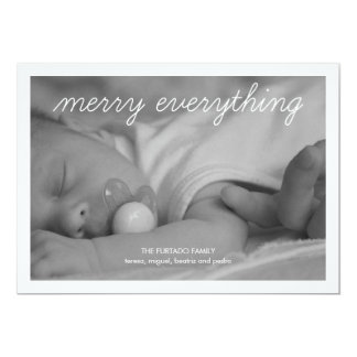 Merry Everything Holiday Photo Cute Christmas Blue 5x7 Paper Invitation Card