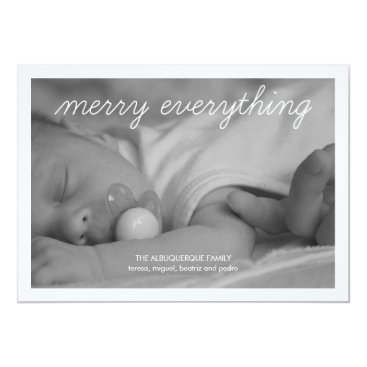 Christmas Themed Merry Everything Holiday Photo Green Christmas Card