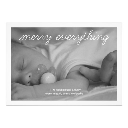 Merry Everything Holiday Photo Green Christmas Personalized Announcement