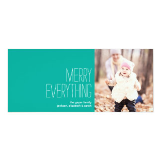 """Merry Everything - Holiday Photo Greeting Card 4"""" X 9.25"""" Invitation Card"""