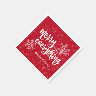 Merry Everything Holiday Snowfall Paper Napkin