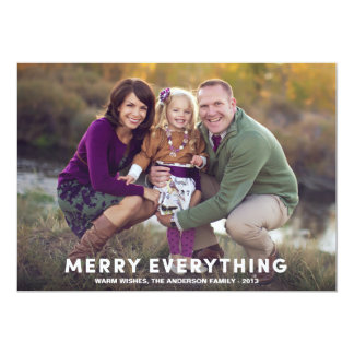 """MERRY EVERYTHING OVERLAY   HOLIDAY PHOTO CARD 5"""" X 7"""" INVITATION CARD"""