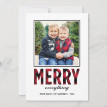 Merry Everything | Red Buffalo Plaid Photo Holiday Card