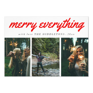 Merry Everything Red Script Three Photo Holiday Card