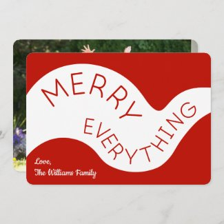 Merry Everything Red Typography Curve Your Photo Holiday Card