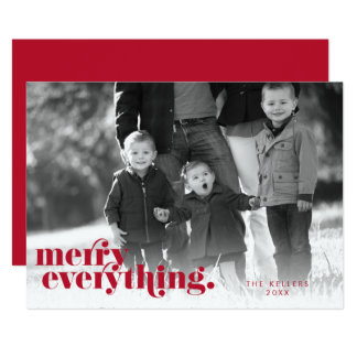 Merry Everything Red & White | Holiday Photo Card