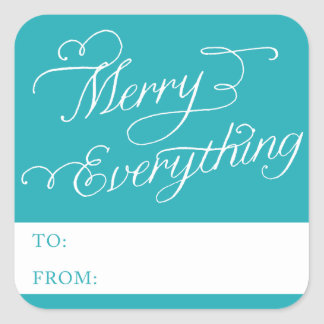 MERRY EVERYTHING SCRIPT | HOLIDAY PHOTO CARD SQUARE STICKER