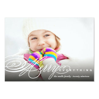 Merry Everything Script Modern Photo Holiday Card
