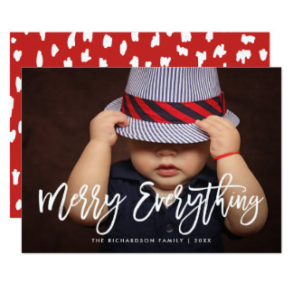 Merry Everything Stylish Script Pattern and Photo Card