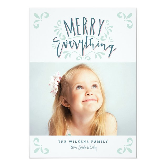 Merry Everything Trendy Photo Greeting Card