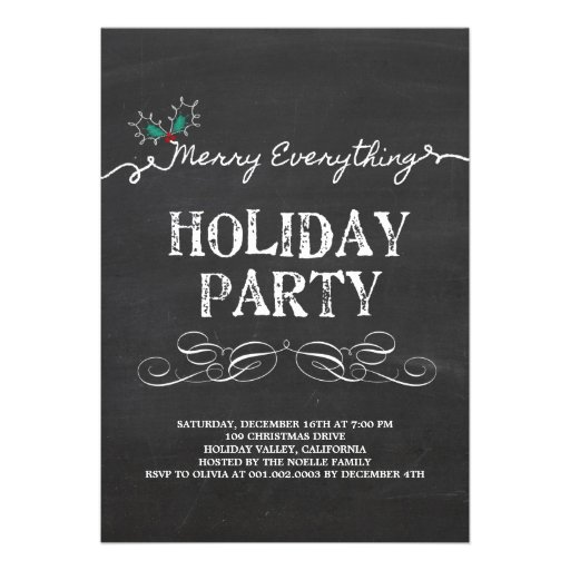 Merry Everything Vintage Chalkboard Holiday Party Personalized Invitations