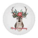 Merry Everything Watercolor Deer Antler Bouquet Cutting Board
