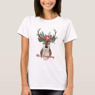 Merry Everything Watercolor Deer Antler Bouquet T-Shirt