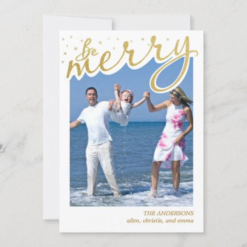 Merry Faux Gold Foil Retro Script Christmas Photo Holiday Card
