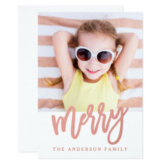 Merry Faux Rose Gold Foil | Holiday Photo Card