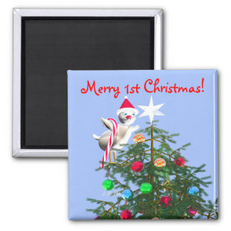 Merry First Christmas Baby Bird 2 Inch Square Magnet