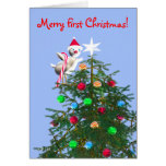 Merry First Christmas Baby Bird Greeting Cards