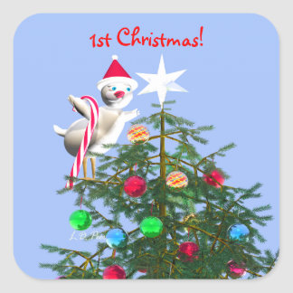 Merry First Christmas Baby Bird Square Sticker