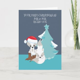 Merry First Married Christmas Cute Fox Couple Card