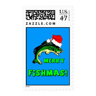 merry fishmas christmas postage