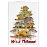 Merry Fishmas- Freashwater Fish Christmas Tree Greeting Cards