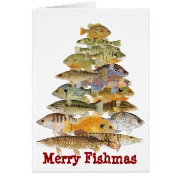 Christmas Themed Merry Fishmas- Freashwater Fish Christmas Tree Card