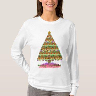 Christmas Themed Merry Fishmas Ladies Long Sleeve Shirt