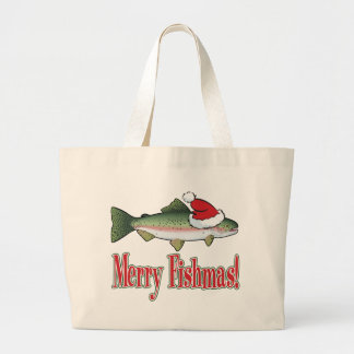 Merry Fishmas Large Tote Bag